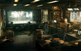 3d view video games futuristic books interior artwork deus ex wallpaper