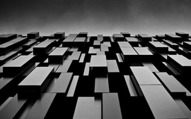Abstract black blocks shapes monochrome modern wallpaper