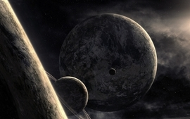Abstract outer space planets fantasy art grayscale wallpaper