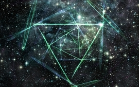Abstract outer space stars nebulae triangles wallpaper