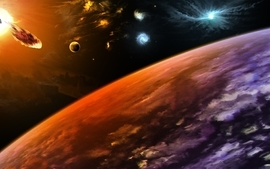 Abstract stars planets fantasy art space wallpaper