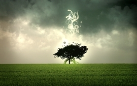 Abstract trees grass sacred skyscapes photomanipulations wallpaper