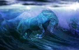 Abstract waves fantasy art horses artwork wallpaper