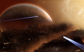 Aircrafts cityscapes stars futuristic planets spaceships science wallpaper