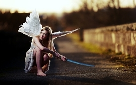 Angels women wings katana roads wallpaper