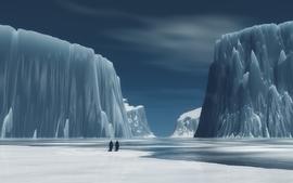 Animals valley penguins glacier digital art wallpaper