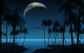 Beach moon night watch wallpaper