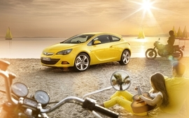 Beach yellow cars guitars opel motorbikes wallpaper