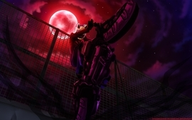 Bike night fences moon helmet jump durarara wallpaper