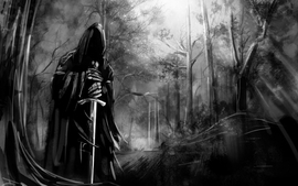 Black and white death forest gothic swords wallpaper