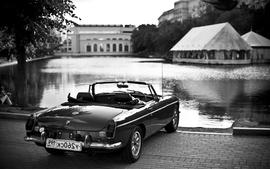 Black white old cars monochrome lakes greyscale wallpaper