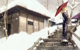 Blondes sayonara zetsubou sensei winter snow trees blue eyes wallpaper