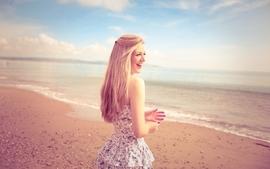 Blondes women beach dress happy models smiles wallpaper
