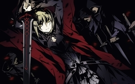 Blondes women black fatestay night dark dress knights weapons wallpaper