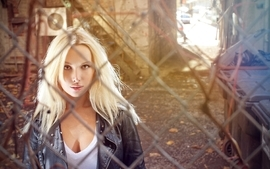 Blondes women cleavage jackets chain link fence wallpaper