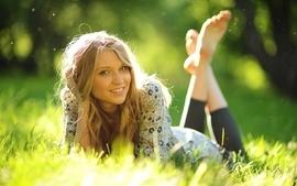 Blondes women feet grass outdoors barefoot sunlight smiling wallpaper