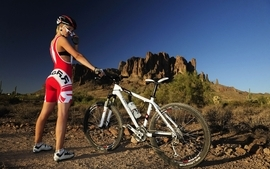 Blondes women mountain bikes wallpaper