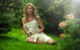 Blondes women nature sun trees grass dogs white dress cool guy wallpaper