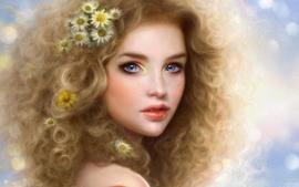 Blondes women paintings flowers blue eyes digital art artwork wallpaper