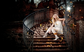 Blondes women stairways wallpaper