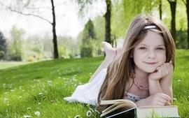 Blondes women trees children grass garden outdoors books wallpaper