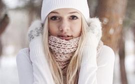 Blondes women winter gloves hats faces wallpaper