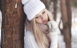Blondes women winter snow gloves hats wallpaper