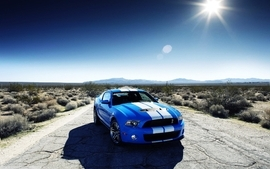 Blue cars desert skyscapes ford shelby wallpaper