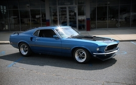 Blue cars scenic vehicles ford mustang mach1 wallpaper