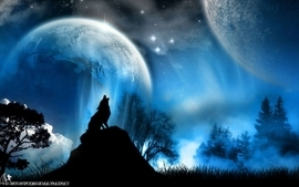 Blue stars planets moon wolf wallpaper