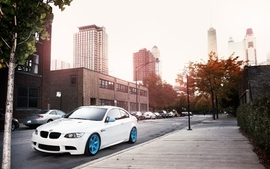 Bmw cityscapes streets white cars wallpaper