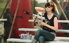 Brunettes beers women jeans zooey deschanel paintball sunglasses wallpaper