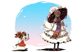 Brunettes blondes touhou dress children young long hair ribbons wallpaper