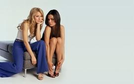 Brunettes blondes women mila kunis kristen bell actress wallpaper