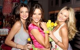 Brunettes blondes women miranda kerr models alessandra ambrosio wallpaper