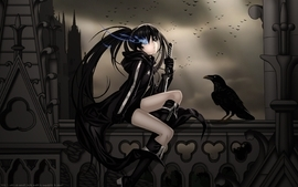 Brunettes boots clouds gloves black rock shooter birds blue eyes wallpaper