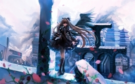Brunettes boots women video games blue clouds touhou wings ruins wallpaper