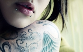 Brunettes tattoos women lips punk gothic piercings lipstick wallpaper