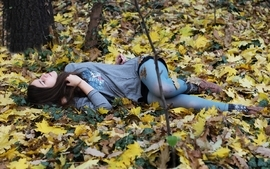 Brunettes women autumn forest photography leaves girls in nature wallpaper