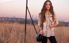 Brunettes women autumn models bag clara alonso chain link fence wallpaper
