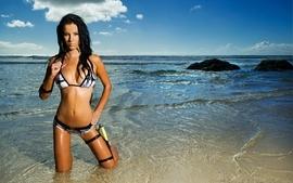 Brunettes women bikini beach panties bra wet wallpaper