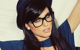 Brunettes women blue eyes models glasses louise cliffe hats wallpaper
