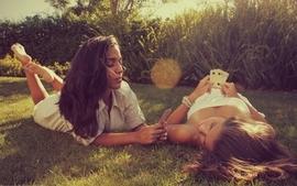 Brunettes women cards grass outdoors lying down two girls wallpaper
