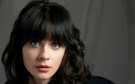 Brunettes women closeup eyes blue eyes actress zooey deschanel wallpaper