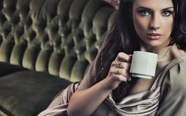 Brunettes women coffee wallpaper