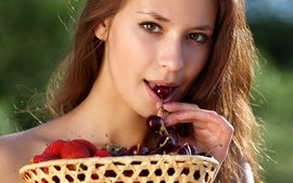 Brunettes women fruits irina j faces wallpaper