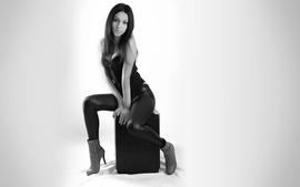 Brunettes women leggings high heels monochrome wallpaper