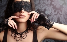 Brunettes women lips blindfolds wallpaper