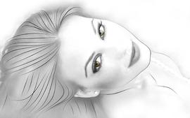 Brunettes women long hair green eyes grayscale earrings lorena wallpaper