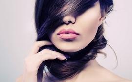 Brunettes women makeup faces fingernails wallpaper